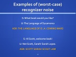 examples of worst case recognizer n oise