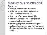 regulatory requirements for irb approval