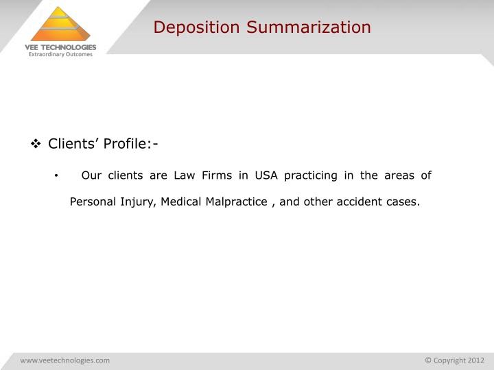 Deposition summarization
