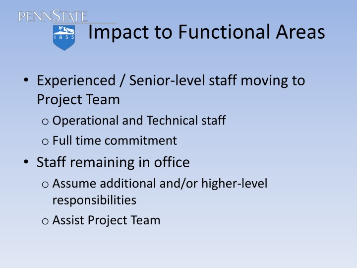 Impact to Functional Areas