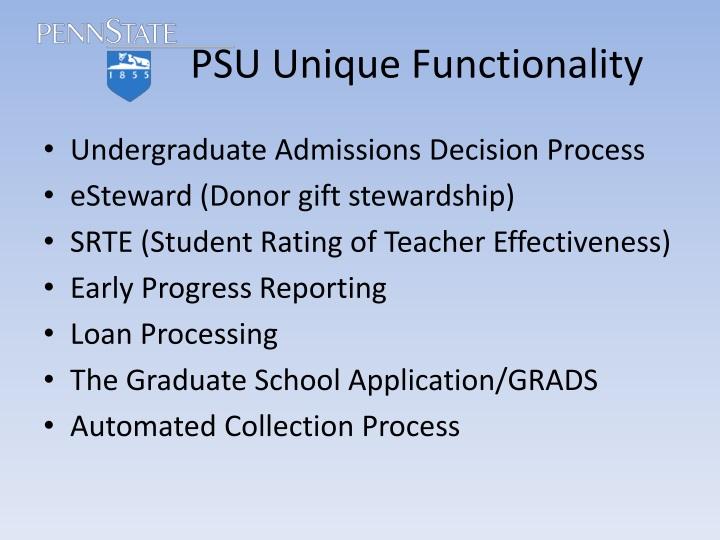 PSU Unique Functionality