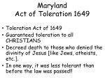 maryland act of toleration 1649