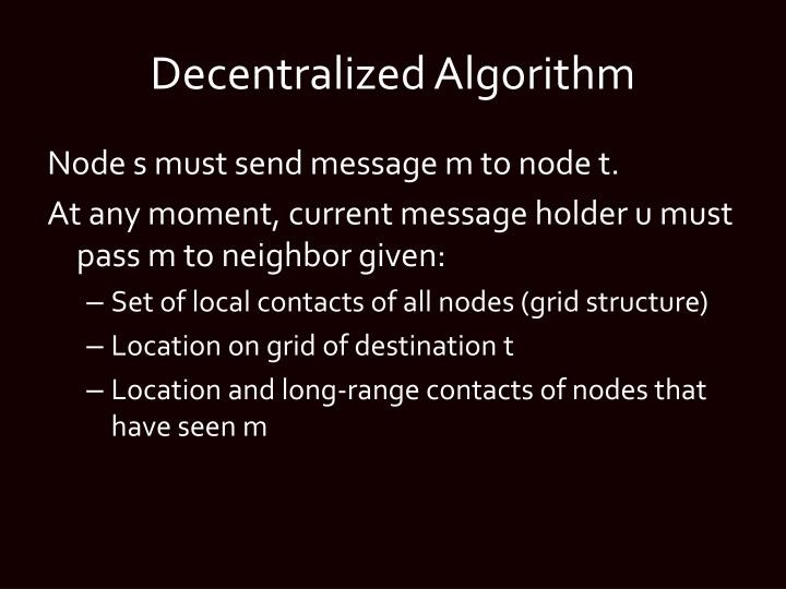 Decentralized Algorithm