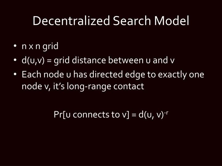 Decentralized Search Model