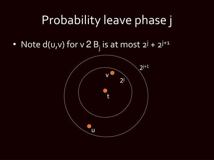 Probability leave phase j