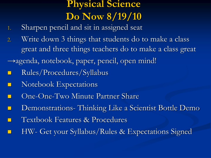 physical science do now 8 19 10 n.