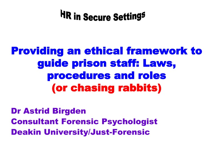 Providing an ethical framework to guide prison staff laws procedures and roles or chasing rabbits