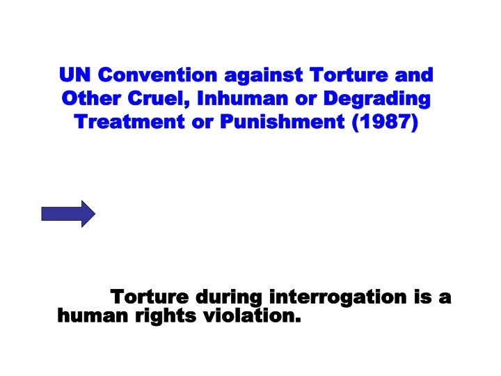 Un convention against torture and other cruel inhuman or degrading treatment or punishment 1987