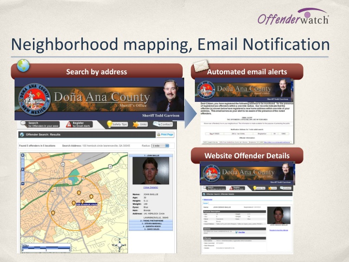 Neighborhood mapping, Email Notification
