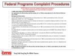 federal programs complaint procedures