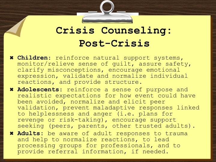 Crisis Counseling: