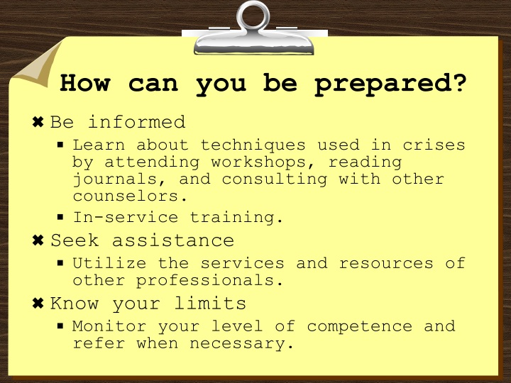 How can you be prepared?