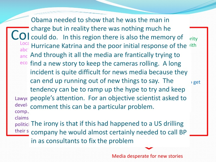 Obama needed to show that he was the man in charge but in reality there was nothing much he could do.   In this region there is also the memory of Hurricane Katrina and the poor initial response of the Bush administration.