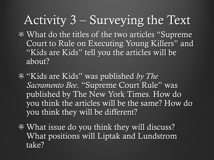Activity 3 – Surveying the Text