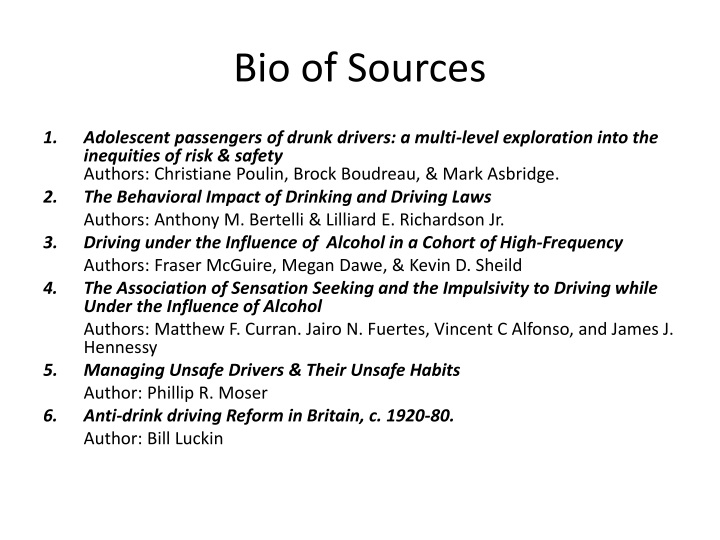 Bio of Sources