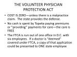 the volunteer physician protection act
