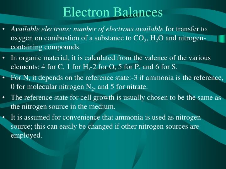 Electron Balances