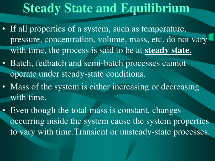 Steady State and Equilibrium