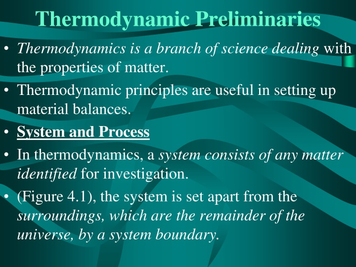 Thermodynamic Preliminaries