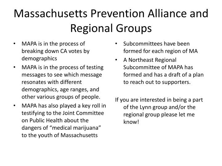 Massachusetts Prevention Alliance and Regional Groups