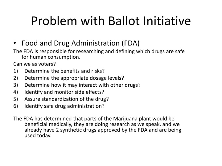 Problem with Ballot Initiative