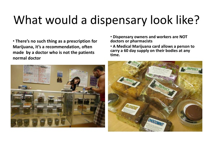 What would a dispensary look like?