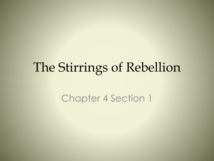 the stirrings of rebellion n.