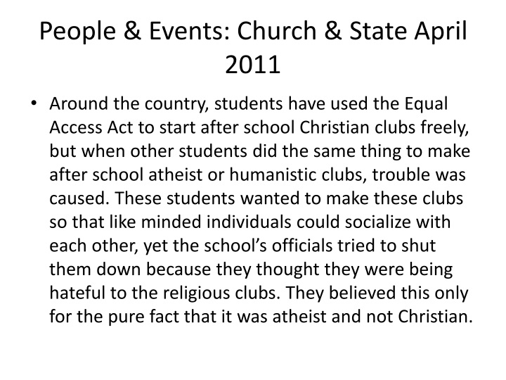 People & Events: Church & State April 2011