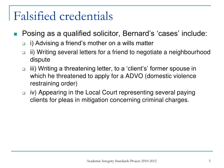 Falsified credentials