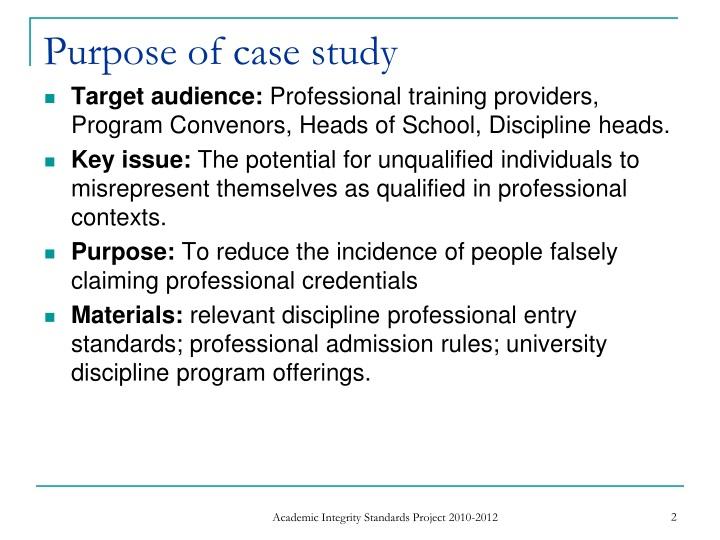 Purpose of case study