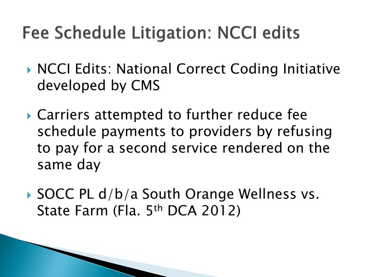 Fee Schedule Litigation: NCCI edits