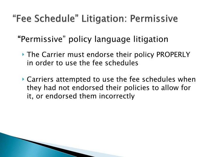 """Fee Schedule"" Litigation: Permissive"