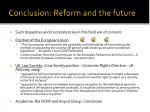 conclusion reform and the future