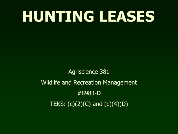 hunting leases n.