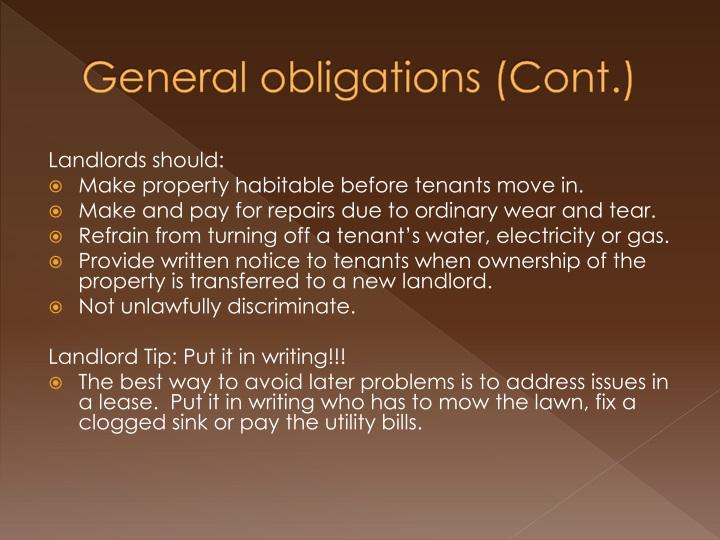 General obligations cont