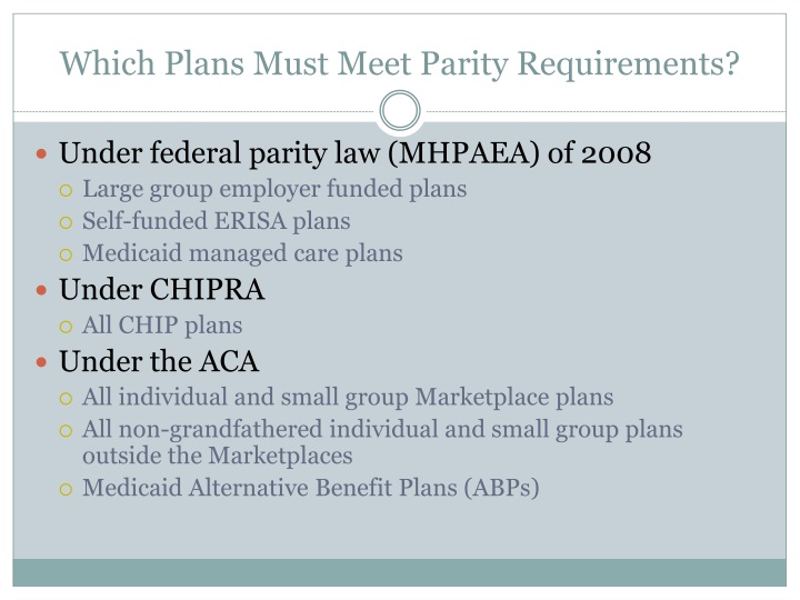 Which Plans Must Meet Parity Requirements?