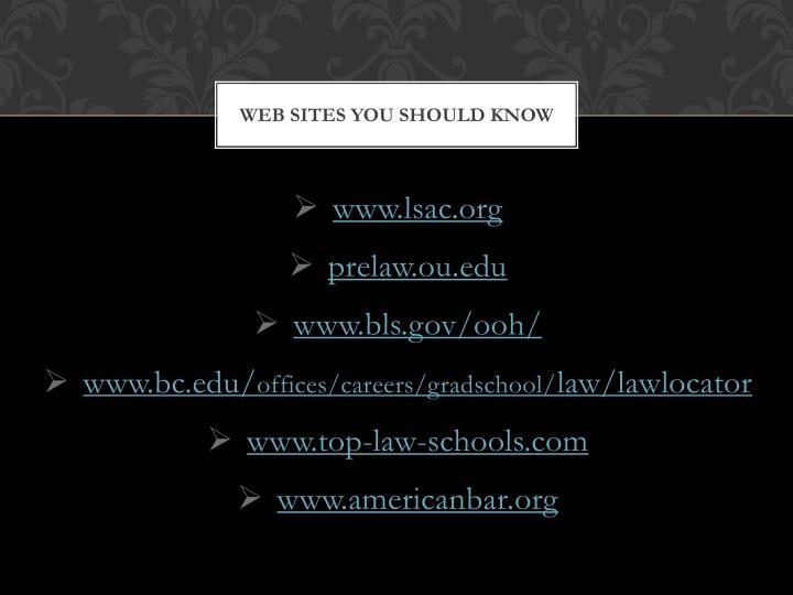 Web Sites you should know
