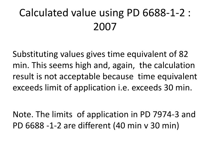 Calculated value using PD