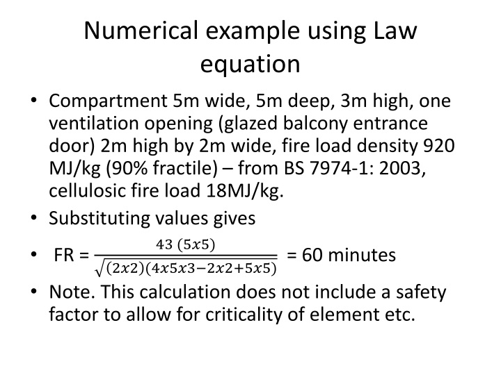 Numerical example using Law equation