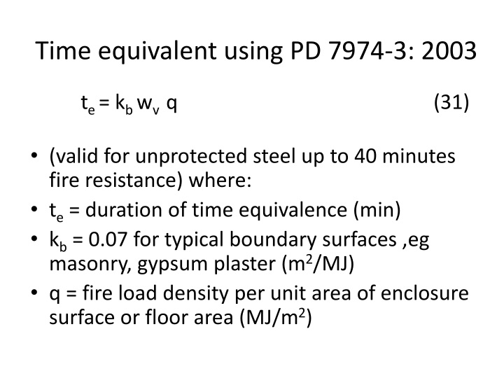 Time equivalent using PD 7974-3: 2003