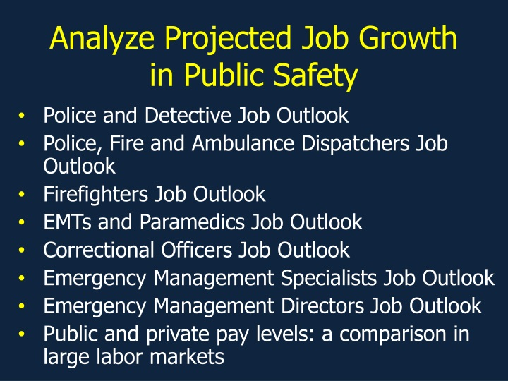 analyze projected job growth in public safety n.