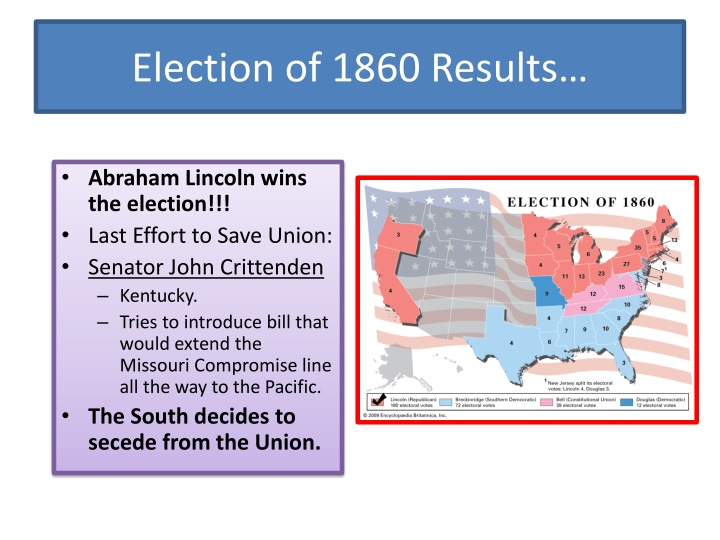 Election of 1860 Results…