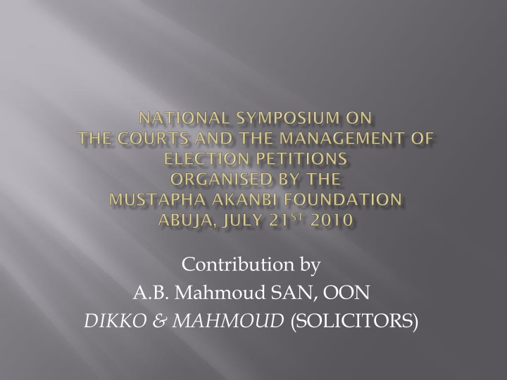 contribution by a b mahmoud san oon dikko mahmoud solicitors n.