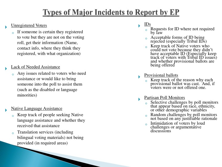 Types of Major Incidents to