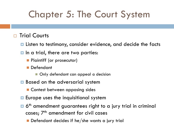 Chapter 5: The Court System