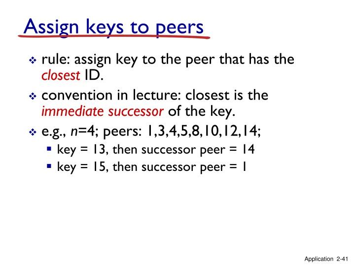 Assign keys to peers