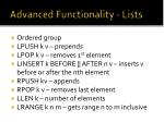 advanced functionality lists