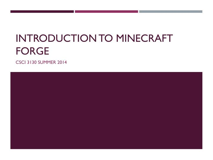 introduction to minecraft forge n.