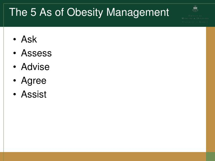 The 5 As of Obesity Management