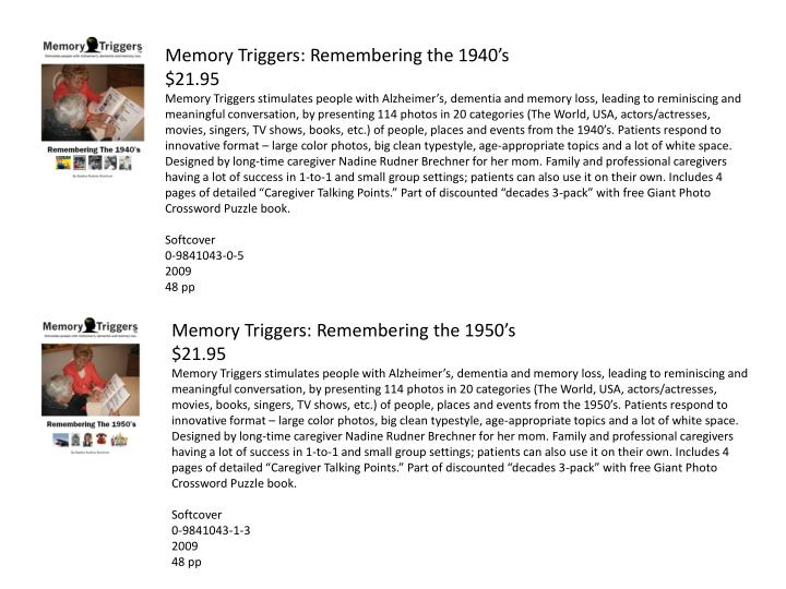 Memory Triggers: Remembering the 1940's